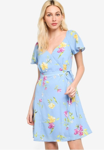 French Connection blue Eme Crepe Faux Wrap Dress CF6ABAABFFB081GS_1
