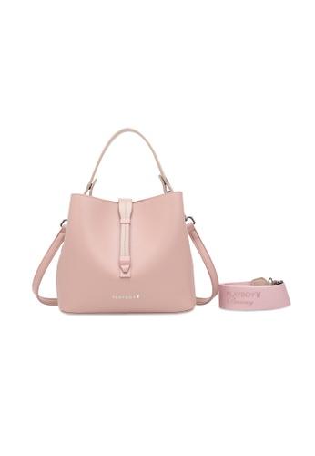 PLAYBOY BUNNY 粉紅色 Logo Detail Top Handle Sling Bag 788FFAC8CED9AAGS_1