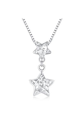 MaBelle silver 14K 585 White Gold Diamond Cut Double Star Pendant Necklace 31F08AC47E21FFGS_1