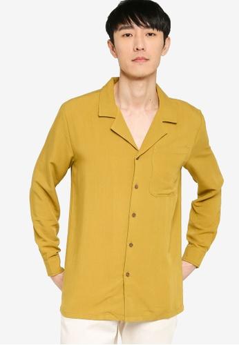 ZALORA BASICS yellow Revere Collar Linen Blend Shirt F45D4AA829DE52GS_1