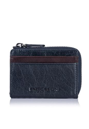 ENZODESIGN navy Buffalo Leather ID Mini Coin Case With Key Ring EN357AC0FM2YSG_1