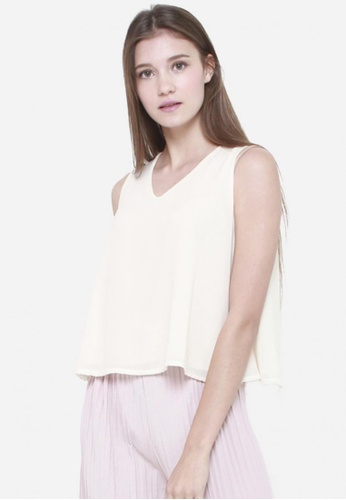 Sophialuv white Easy Breezy Top in Cream 4CA12AA23D7F04GS_1