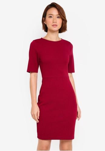 ZALORA red Bodycon Midi Dress 1B82BAAD324B7EGS_1