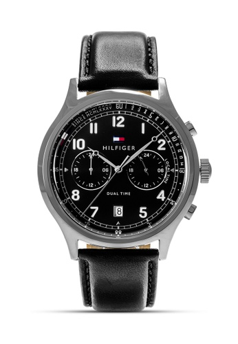 Tommy Hilfiger Watches black and white and silver Men's Leather Strap Watch TO959AC0KUDUPH_1