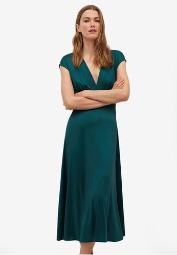 Mango green V-Neck Satin Dress 7BC69AA3E0B1F4GS_1