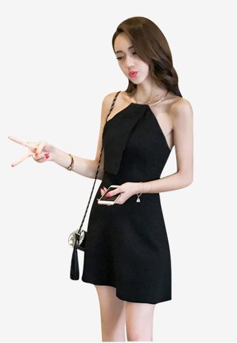 Lara black Back Zipper Fasten One Piece Dress 73A2FAA9503844GS_1