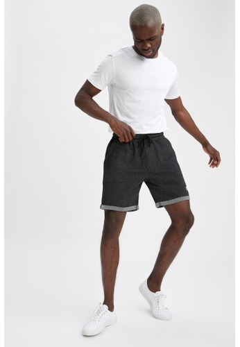 DeFacto black Slim Fit Sweatshirt Bermuda Shorts 76971AAF1B4E46GS_1