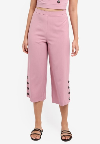 Miss Selfridge pink Petite Pale Pink Button Detail Culotte Trousers 67CB9AAF5137A9GS_1