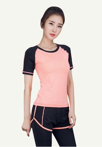 B-Code pink ZYG5070-Lady Quick Drying Running Fitness Yoga Sports Bra, Top and Leggings Three Pieces Set-Pink 14EE8AA798144DGS_1