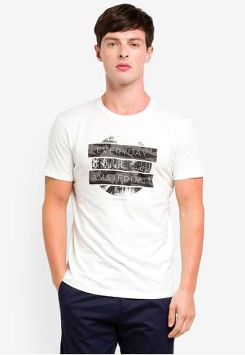 ESPRIT 白色 短袖T恤 BFF92AA706DA54GS_1