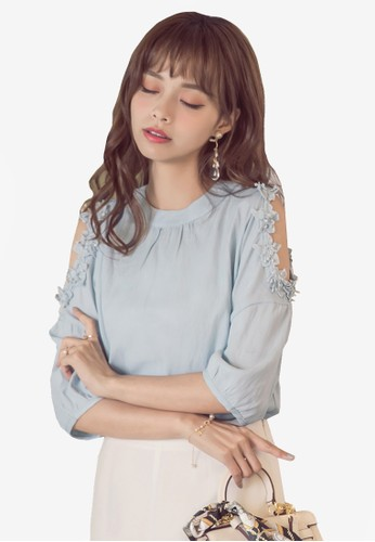 Yoco blue Digging Shoulder Cropped With Seven-quarter sleeves 4673AAAD5D7611GS_1