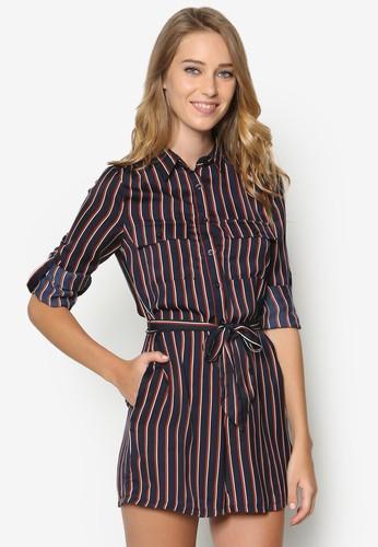 Coesprit outlet 台灣llection 條紋繫帶連身褲, 服飾, 服飾