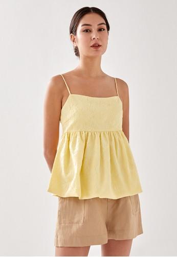 Love, Bonito yellow Foresta Textured Babydoll Top 3047DAAE937FE1GS_1