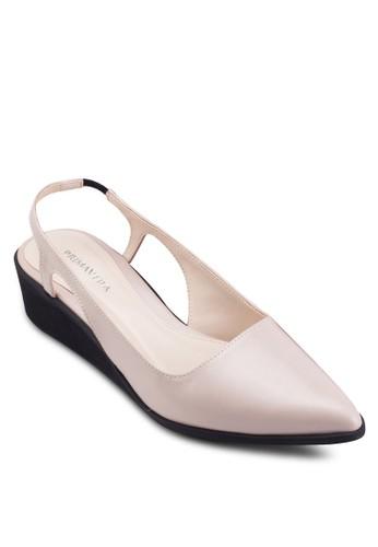Azure 尖esprit高雄門市頭繞踝撞色楔型鞋, 女鞋, 鞋