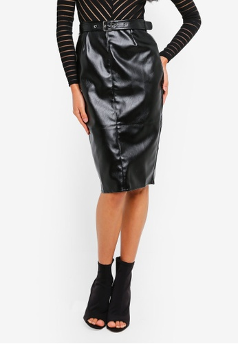 ad1274e78 MISSGUIDED black Faux Leather Buckle Detail Midi Skirt 2C4B2AAA0EA297GS_1