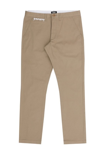 izzue beige Letter embroidered pants FAA2EAA47A52B0GS_1
