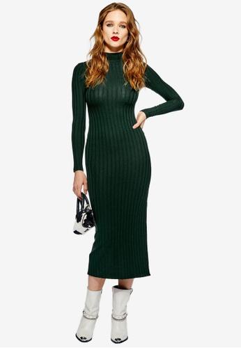 TOPSHOP 綠色 High Neck Rib Midi Dress 4072AAA754D957GS_1