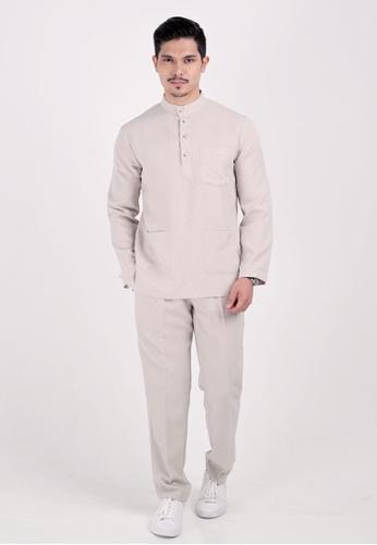 VELRIA beige BENTARA Baju Melayu Cekak Musang 6B687AAC049576GS_1