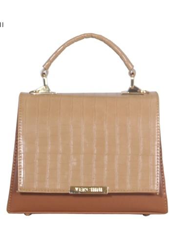 Verchini brown Verchini Croc-Effect Structured Top Handle Bag 83460AC08B1D1EGS_1