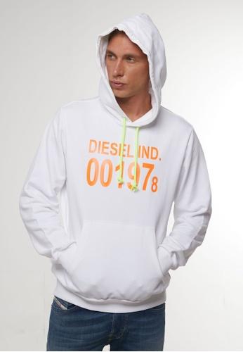 Diesel white S-GIRK-HOOD FELPA HOODIE 094FEAA9C6FBDDGS_1