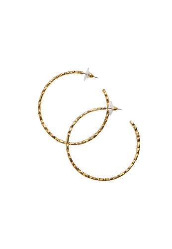 Violeta by MANGO gold Embossed Hoop Earrings 60D10AC78D1002GS_1
