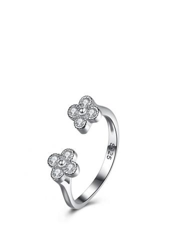 Sopistikada silver Carsandra Flower Adjustable Ring SO776AC0KN7MPH_1