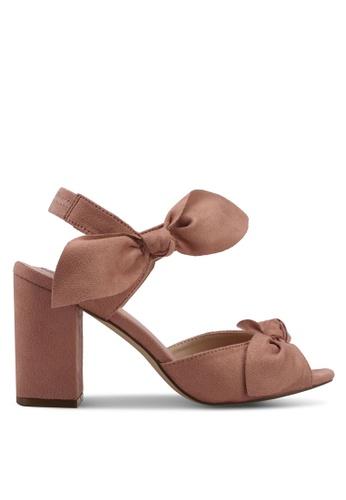 Velvet pink Side bow detail heels 84CF0SHEA94C3EGS_1