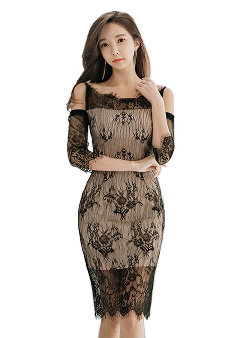 One 2018 Black Piece New Sunnydaysweety UA032019 Off Dress Lace Black Shoulder gwq1aUgR
