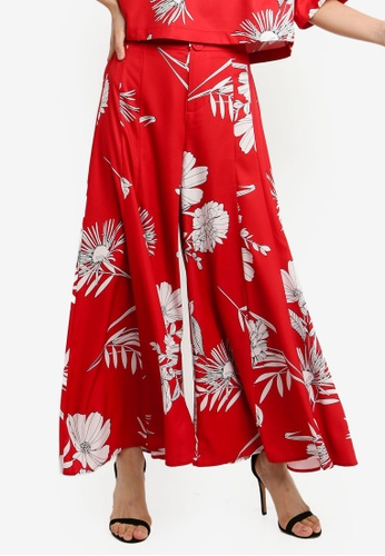 BYSI red Botanical Print Trousers 1280DAA0D604B0GS_1