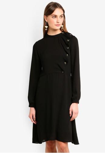Vero Moda black Jenny Long Sleeve Ruffle Dress 15ABCAA080C081GS_1
