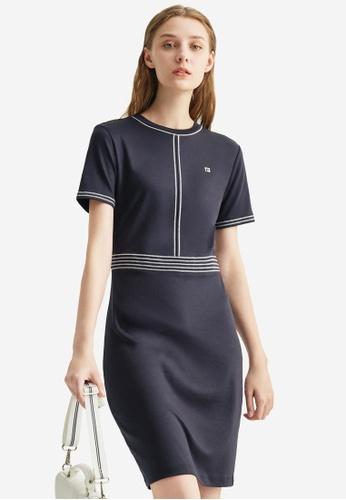FILA navy Embroidery F-box Logo Back Slit Cotton Dress 9F816AA6B1B6BEGS_1