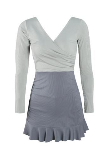 ZITIQUE blue Women's Long Sleeve Skinny One-piece Swimsuit - Blue C4BB9US20445C3GS_1