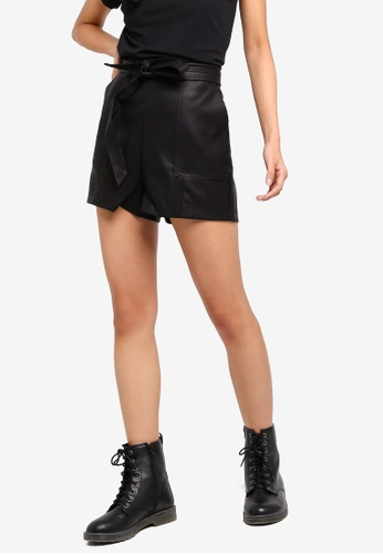 OVS black Cotton Textured Effect Shorts 043E6AA17E3611GS_1