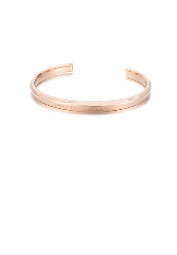 Glamorousky silver Fashion Simple Plated Rose Gold Geometric Round 316L Stainless Steel Open Bangle 052E1AC3266F5CGS_1