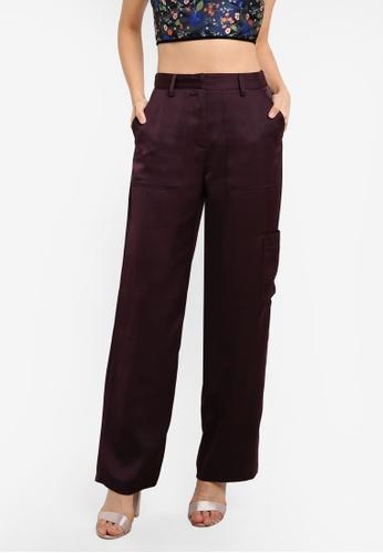 TOPSHOP purple Satin Utility Wide Leg Pants TO412AA0SHIMMY_1