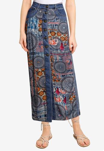Desigual blue African Denim Skirt 0EEB7AA4D6B779GS_1