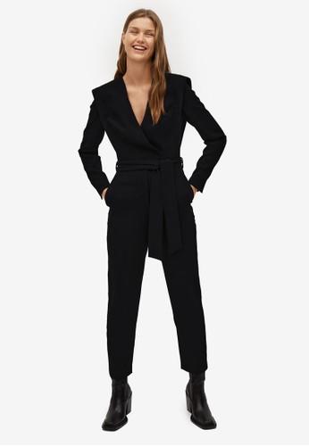 Mango black Belt Wrap Jumpsuit 1691DAA86005D6GS_1