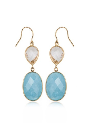 Jemocracy blue and gold JEMOCRACY - Reach for the Sky - 14k gold earrings with aquamarine and crystal 6F57EAC54568C7GS_1