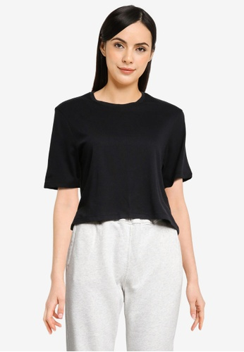 Abercrombie & Fitch black Relaxed Cropped Tee DA869AA898B32EGS_1