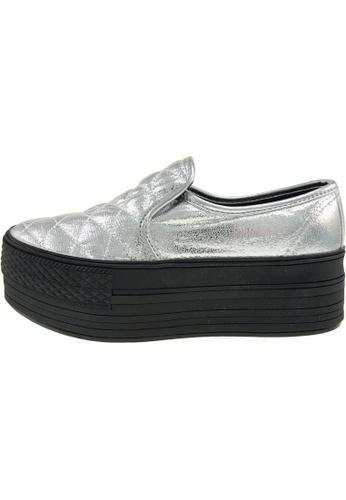 Maxstar 銀色 新款韩国鞋C50-Stitch-TC時尚皮革布混合女銀色 US Women Size MA345SH95GXGTW_1