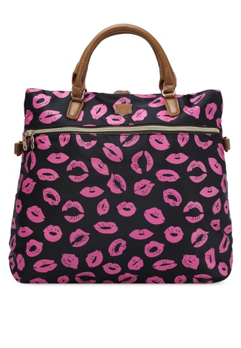 NUVEAU black PU-Trimmed Printed Nylon 3-Way Sling Backpack NU245AC0RKVIMY_1