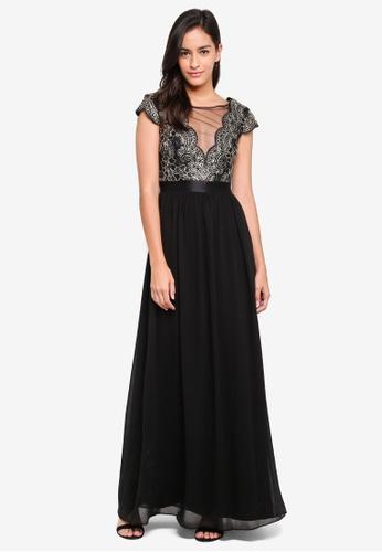 Goddiva black Embroidered Bodice Maxi Dress With Cap Sleeves 2B916AA87234C2GS_1