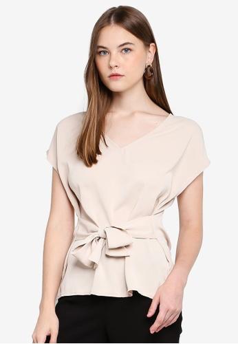 FORCAST beige Belen Tie Waist Top 45D22AA59C9234GS_1