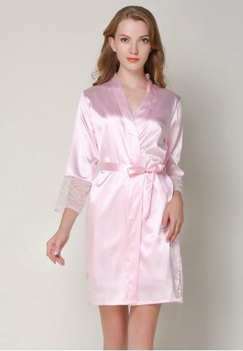 SMROCCO pink Silk Like Long Sleeve Long Pants Pyjamas Set L8008 (Pink) 3073DAA7A40F24GS_1