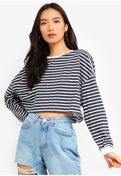 fa4a336371899 MISSGUIDED navy Stripe Drop Shoulder Oversized Crop Top 578EFAA32183EDGS 1