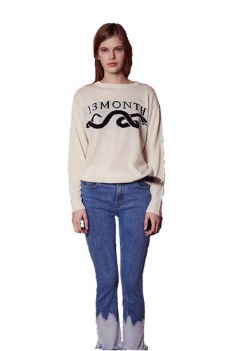 17SS蛇提花紋樣象牙esprit outlet hong kong色針織衫, 服飾, 毛線衣