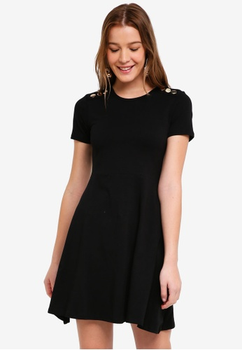 Dorothy Perkins black Black Popper Skater Dress 5AFAEAA24F3668GS_1