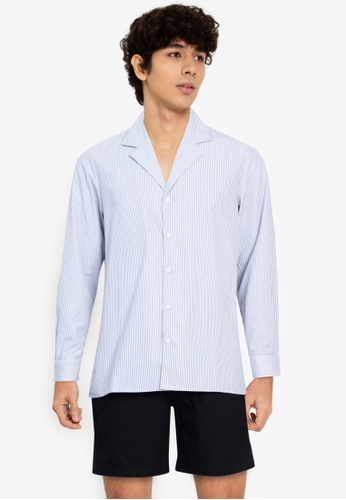 ZALORA BASICS multi Stripes Camp-Collar Shirt 544C2AA0BB6EFDGS_1