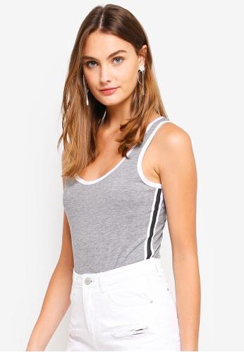 Brave Soul grey Vest Bodysuit With Side Stripe B93AFAA6330991GS_1