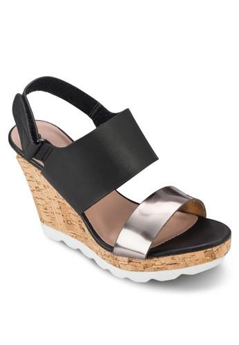 金屬感雙帶楔型esprit au跟涼鞋, 女鞋, 楔形涼鞋